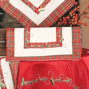 Xia Home Fashions Tartan Ribbon Embroidered Holiday Placemat (Set of 4)