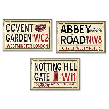 Stupell Industries London Railroad Stop 3 Piece Textual Art Wall Plaque Set