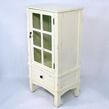 Heather Ann Wooden Cabinet w/ Glass Insert; Antique White