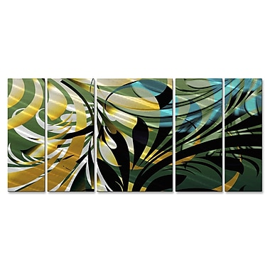 All My Walls 'Jungle II' by Ash Carl 5 Piece Graphic Art Plaque Set