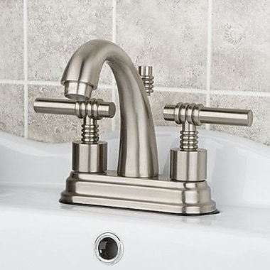 Kingston Brass Milano Double Handle Centerset Bathroom Sink Faucet w/ Brass Pop-up; Satin Nickel