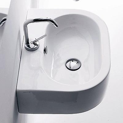 WS Bath Collections Flo Ceramic Ceramic U-Shaped Vessel Bathroom Sink w/ Overflow