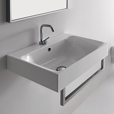 WS Bath Collections Cento Ceramic 24'' Wall Mount Bathroom Sink w/ Overflow