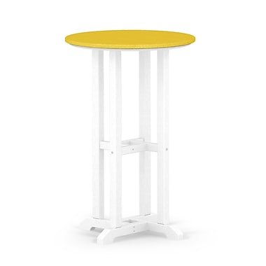 POLYWOOD Contempo Dining Table; White / Lemon