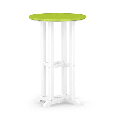 POLYWOOD Contempo Dining Table; White / Lime