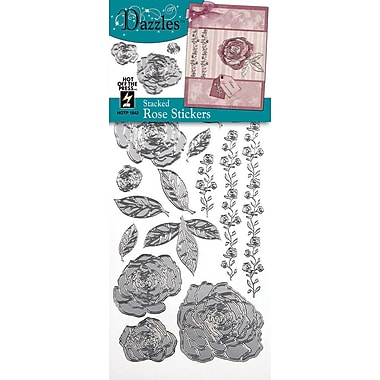 Dazzles Stacked Rose Stickers; Silver