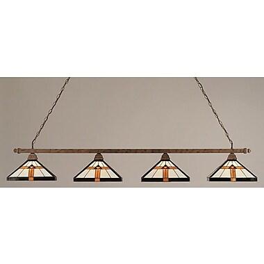 Toltec Lighting 4-Light Square Pool Table Light; Bronze