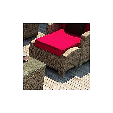 Forever Patio Cypress Ottoman w/ Cushion; Flagship Ruby / Canvas Bay Brown Welt