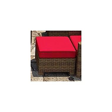 Forever Patio Cypress Ottoman w/ Cushion; Flagship Ruby / Canvas Bay Brown Welt