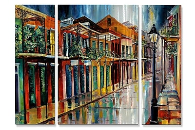 All My Walls 'French Quarter Rain AC' by Diane Millsap 3 Piece Painting Print Plaque Set