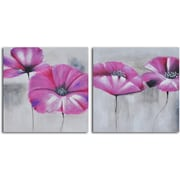 My Art Outlet Pink Poppies in Mist' 2 Piece Painting on Wrapped Canvas Set
