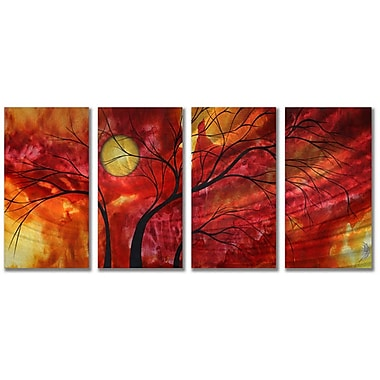 All My Walls 'Burning Crimson' by Megan Duncanson 4 Piece Painting Print Plaque Set
