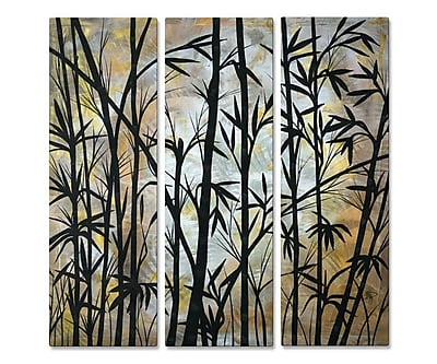 All My Walls 'Bamboo Shoots' by Megan Duncanson 3 Piece Graphic Art Plaque Set