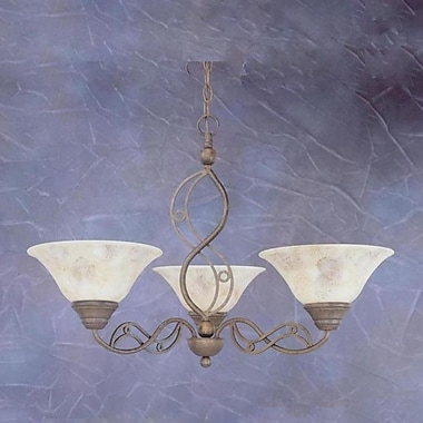 Toltec Lighting Jazz 3-Light Shaded Chandelier; Bronze