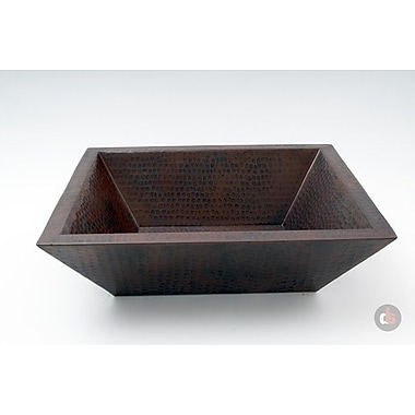 Ambiente Double Wall Hammered Copper Rectangular Vessel Bathroom Sink