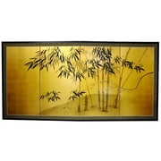 Oriental Furniture 18'' x 36'' Gold Leaf Bamboo 4 Panel Room Divider
