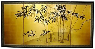 Oriental Furniture 36'' x 72'' Gold Leaf Bamboo 4 Panel Room Divider