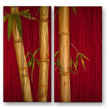 All My Walls 'Bamboo I and II' by Ora Sorenson 2 Piece Painting Print Plaque Set