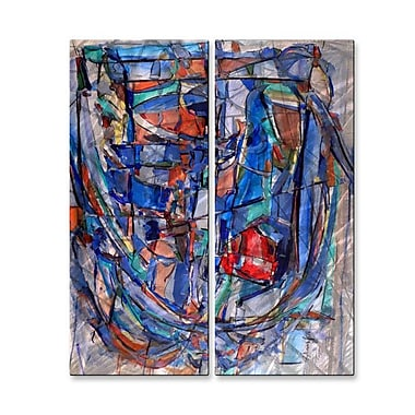 All My Walls 'Rib-Cage 44' by Wendy Morris 2 Piece Painting Print Plaque Set