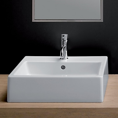Bissonnet Area Boutique Ice Large Square Ceramic 18'' Wall Mounted Bathroom Sink w/ Overflow