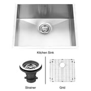Vigo Alma 23 inch Undermount Single Bowl 16 Gauge Stainless Steel Kitchen Sink; Yes