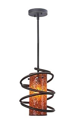 Woodbridge Loop 1-Light Mini Pendant; Amber Mosaic