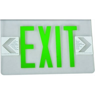 Morris Products Surface Mount Edge Lit Double Sided Face Plate LED Exit Sign w/ Green on Clear Panel