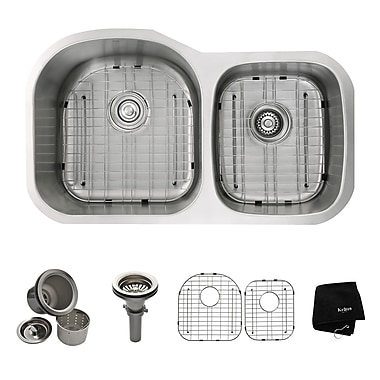 Stainless Steel 35.13'' x 20.75'' Double Basin Undermount Kitchen Sink w/ NoiseDefend Soundproofing
