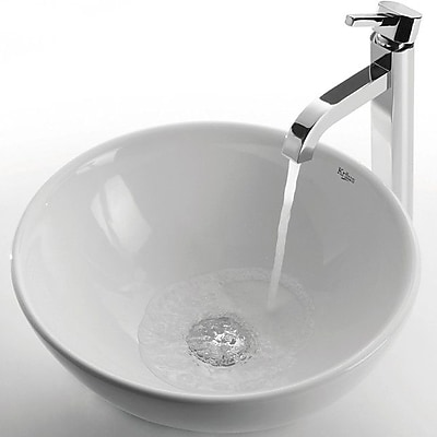 Kraus Ceramic Ceramic Circular Vessel Bathroom Sink w/ Faucet; Chrome