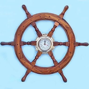Handcrafted Nautical Decor Deluxe Class 22'' Oversized Ship Wheel Wall Clock