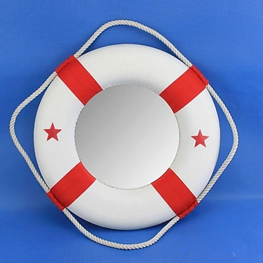 Handcrafted Nautical Decor Life Ring Mirror; Red