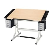 Alvin and Co. CraftMaster II Wood Drafting Table; White Base & Maple Top by