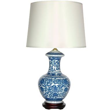 Oriental Furniture Porcelain Round Vase 24'' Table Lamp