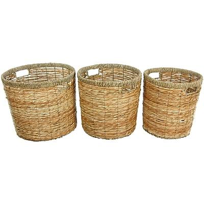 Oriental Furniture Rush Grass Waste Basket (Set