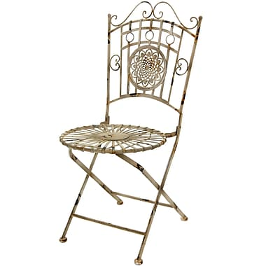 Oriental Furniture Folding Patio Dining Chair; Distressed White