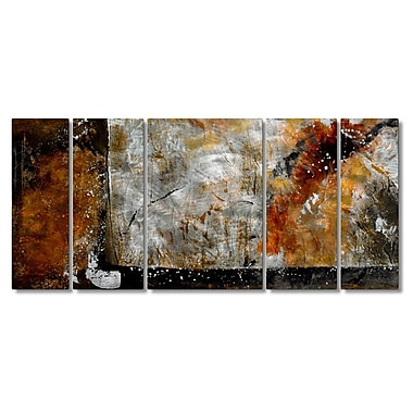 All My Walls 'Bronze Brushed' by Ash Carl Designs 5 Piece Painting Print Plaque Set