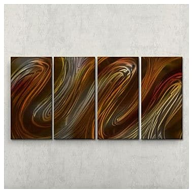 All My Walls Glissade III by Ash Carl 4 Piece Graphic Art Plaque Set; Brown