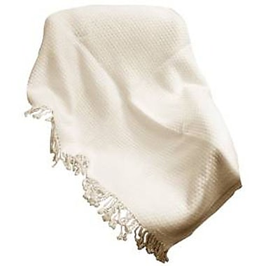 Peach Couture Basketweave 100pct Cashmere Throw w/ Tassels; Off White