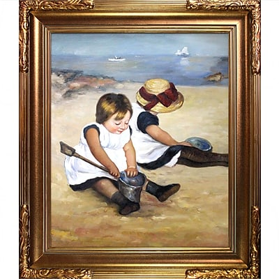 Tori Home Children Playing on the Beach by Mary Cassatt Framed Painting