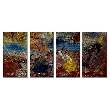 All My Walls 'Woven Way' by Ruth Palmer 4 Piece Painting Print Plaque Set