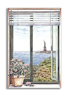 Stupell Industries Statue of Liberty Faux Window Scene Wall Plaque