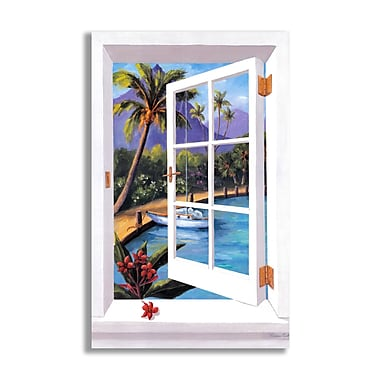 Stupell Industries Tropical Faux Window Scene Wall Plaque