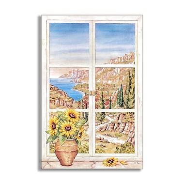 Stupell Industries Sunflowers and Mountains Faux Window Scene Wall Plaque