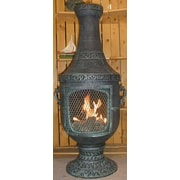 The Blue Rooster Cast Aluminum Gas Chiminea; Antique Green