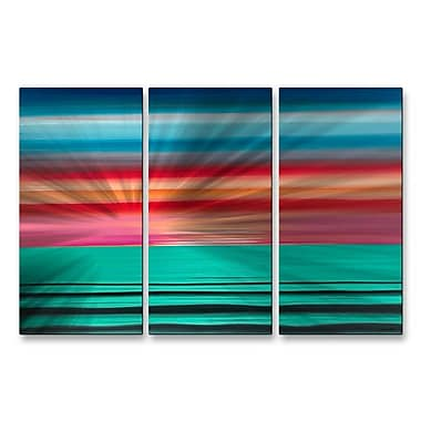 All My Walls 'Sea The Magenta' by Jerry Clovis 3 Piece Graphic Art Plaque Set