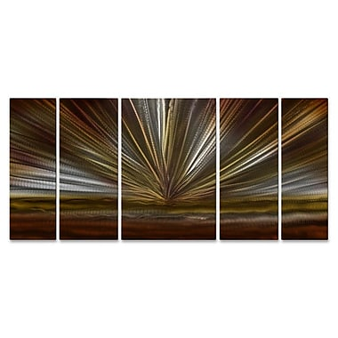 All My Walls On The Horizon II 5 Piece Graphic Art Plaque Set; Brown
