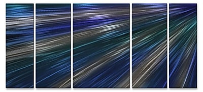 All My Walls 'Blue Rays Of Light II' by Ash Carl 5 Piece Graphic Art Plaque Set