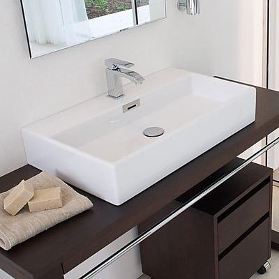 WS Bath Collections Quarelo Ceramic Ceramic Rectangular Vessel Bathroom Sink w/ Overflow