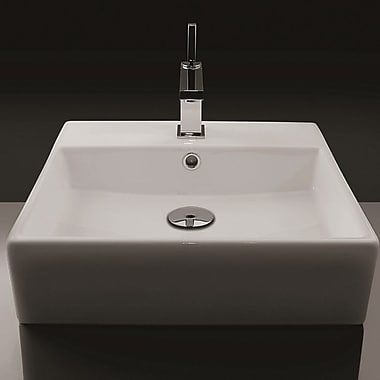 WS Bath Collections Ceramica 18'' Wall mounted Bathroom Sink w/ Overflow; Single Hole