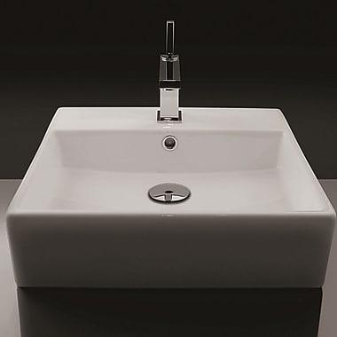 WS Bath Collections Ceramic 19'' Wall Mount Bathroom Sink w/ Overflow; Single Hole